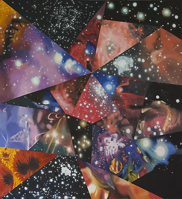 "James Rosenquist, ""Multiverse You Are, I Am"" 2012 Oil on canvas 132 x 120 inches Art © James Rosenquist / Licensed by VAGA, New York, NY Image"
