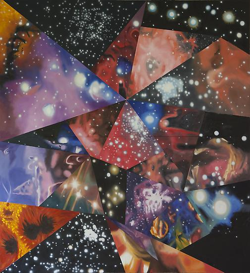 "James Rosenquist, ""The Multiverse You Are, I Am"" 2012 Oil on canvas 132 x 120 inches Art © James Rosenquist / Licensed by VAGA, New York, NY"