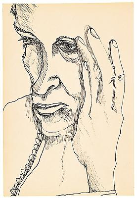 "Lucian Freud, ""The Painter's Mother"" 1940 Ink on paper, 8 3/8 x 5 3/4 in. (21.3 x 14.6 cm) Matthew Marks Gallery © The Lucian Freud Archive  Photo © The Lucian Freud Archive Image"