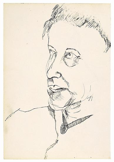 "Lucian Freud, ""The Painter's Mother"" 1940 Ink on paper, 8 3/8 x 5 3/4 in. (21.3 x 14.6 cm) Matthew Marks Gallery © The Lucian Freud Archive  Photo © The Lucian Freud Archive"