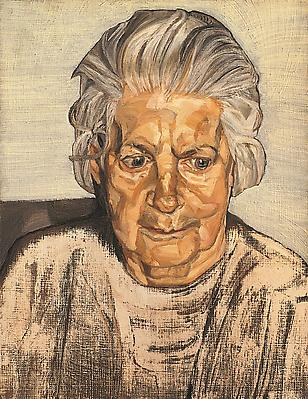 "Lucian Freud, ""The Painter's Mother"" 1972 Oil on canvas, 13 3/4 x 10 3/4 in. (35 x 27.2 cm) Acquavella Galleries © The Lucian Freud Archive Image"