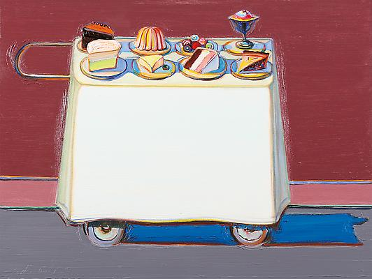 "Wayne Thiebaud, ""Cafe Cart"", 2012, oil on canvas, 30 x 39 7/8 inches (76.2 x 101.3 cm), Acquavella Galleries. Art (c) Wayne Thiebaud / Licensed by VAGA, New York, NY Image"