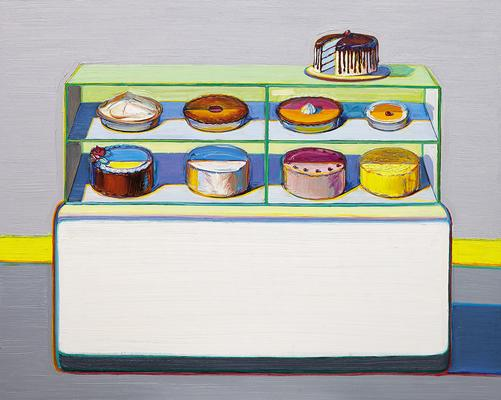 "Wayne Thiebaud, ""Cold Case,"" 2010/2011/2013, oil on canvas, 48 x 60 inches (121.9 x 152.4 cm), Art (c) Wayne Thiebaud / Licensed by VAGA, New York, NY Image"