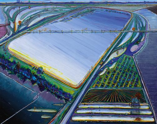 "Wayne Thiebaud, ""Flood Waters,"" 2006/2013, oil on canvas, 48 x 60 inches (121.9 x 152.4 cm), Art (c) Wayne Thiebaud / Licensed by VAGA, New York, NY Image"