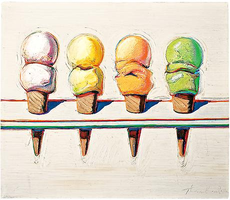 "Wayne Thiebaud, ""Four Ice Cream Cones,"" 1964, oil on canvas, 14 x 16 in. (35.6 x 40.6 cm). Collection of Phoenix Art Museum, Museum purchase - COMPAS Funds. Photo by Ken Howie / Art (c) Wayne Thiebaud / Licensed by VAGA, New York, NY Image"