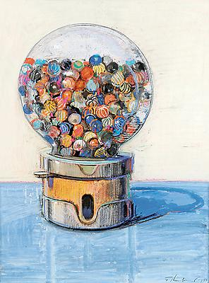 "Wayne Thiebaud, ""Gumball Machine"", 1977 Gouache and pastel on paper 24 x 17 3/4 inches (61 x 45.1 cm) Courtesy of Gretchen and John Berggruen, San Francisco Art © Wayne Thiebaud / Licensed by VAGA, New York, NY Image"