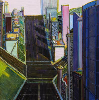"Wayne Thiebaud, ""Intersection Buildings,"" 2000-2014, oil on canvas, 48 x 48 inches (121.9 x 121.9 cm), Art (c) Wayne Thiebaud / Licensed by VAGA, New York, NY Image"