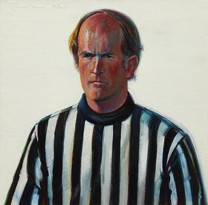 "Wayne Thiebaud, ""Referee,"" 1980-1981, oil on canvas, 19 7/8 x 19 1/2 inches (50.5 x 49.5 cm), Art (c) Wayne Thiebaud / Licensed by VAGA, New York, NY Image"