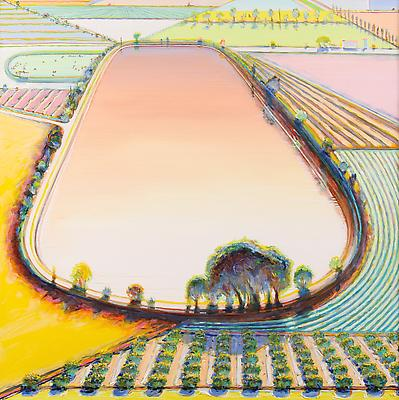 "Wayne Thiebaud, ""Reservoir and Orchard,"" 2001, oil on canvas, 40 x 40 inches (101.6 x 101.6 cm), Collection of Wayne and Betty Jean Thiebaud. Art (c) Wayne Thiebaud / Licensed by VAGA, New York, NY Image"