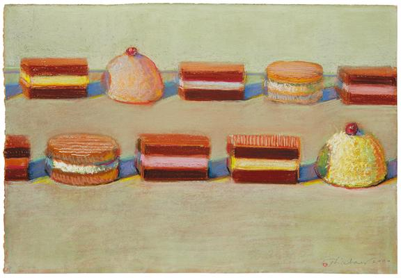 "Wayne Thiebaud, ""Ten Candies,"" 2000, pastel on paper, 11 x 16 inches (27.9 x 40.6 cm), Art (c) Wayne Thiebaud / Licensed by VAGA, New York, NY Image"