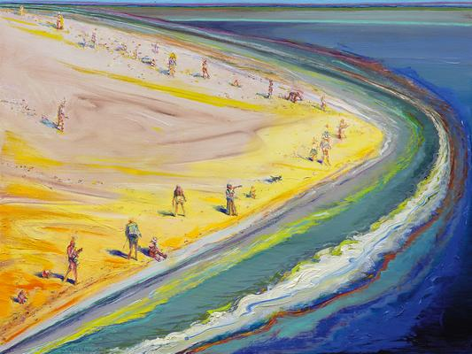 "Wayne Thiebaud, ""Triangle Beach,"" 2003-2005, oil on canvas, 30 x 40 inches (76.2 x 101.6 cm), Art (c) Wayne Thiebaud / Licensed by VAGA, New York, NY Image"