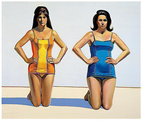 "Wayne Thiebaud, ""Two Kneeling Figures,"" 1966, oil on canvas, 60 x 72 inches (152.4 x 182.9 cm), Collection of Betty Jean Thiebaud. Art (c) Wayne Thiebaud / Licensed by VAGA, New York, NY Image"