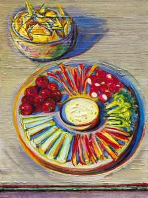 "Wayne Thiebaud, ""Vegetables & Chips,"" 2010-2014, oil on board, 16 x 12 inches (40.6 x 30.5 cm), Art (c) Wayne Thiebaud / Licensed by VAGA, New York, NY Image"