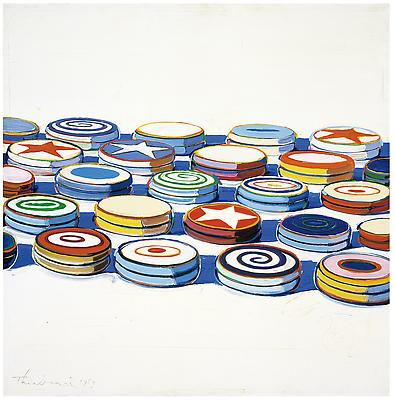 "Wayne Thiebaud, ""Yo Yos,"" 1963, oil on canvas, 24 x 24 in. (61 x 61 cm). Collection Albright-Knox Art Gallery, Buffalo, New York. Gift of Seymour H. Knox, Jr., 1963 (K1963:24) Art (c) Wayne Thiebaud / Licensed by VAGA, New York, NY Image"