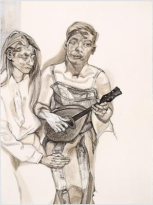 "Lucian Freud, ""Two Figures from 'Large Interior W11 (After Watteau)'"" 1983 Charcoal, turpentine and white crayon on paper 30 x 22 1/4 inches (76.2 x 56.5 cm) Private Collection, courtesy of Matthew Marks Gallery © The Lucian Freud Archive Photo Courtesy Matthew Marks Gallery Image"