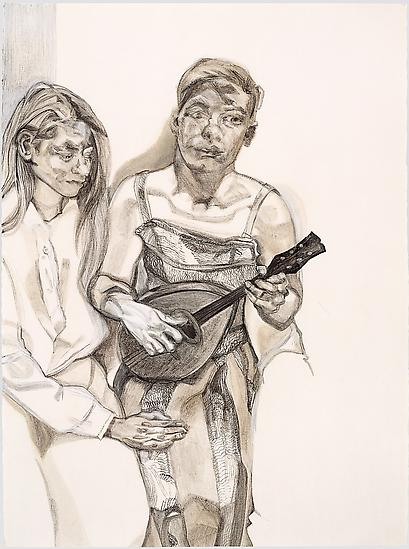 "Lucian Freud, ""Two Figures from 'Large Interior W11 (After Watteau)'"" 1983 Charcoal, turpentine and white crayon on paper 30 x 22 1/4 inches (76.2 x 56.5 cm) Private Collection, courtesy of Matthew Marks Gallery © The Lucian Freud Archive Photo Courtesy Matthew Marks Gallery"