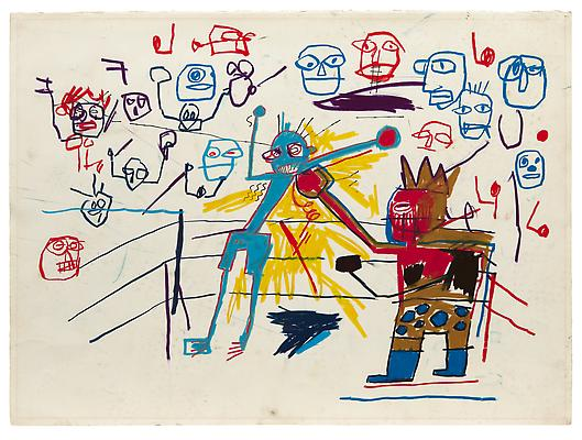 "Jean-Michel Basquiat, ""Untitled (Boxing Ring)"", 1981, Oil paintstick on paper, 22 1/8 x 30 1/8 inches (56.2 x 76.5 cm), The Schorr Family Collection, Art © The Estate of Jean-Michel Basquiat / ADAGP, Paris / ARS, New York 2014 Image"