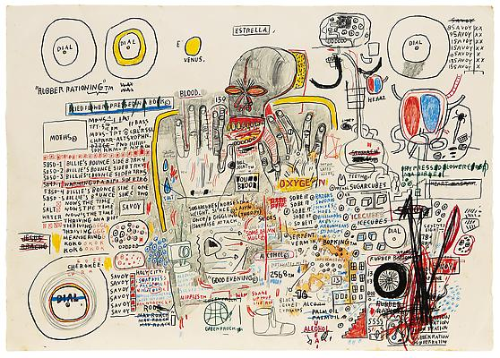 "Jean-Michel Basquiat, ""Untitled (Estrella)"", 1985, Oil paintstick, graphite, and colored pencil on paper, 29 1/2 x 41 5/8 inches (74.9 x 105.7 cm), The Schorr Family Collection, Art Ⓒ The Estate of Jean-Michel Basquiat / ADAGP, Paris / ARS, New York 2014 Image"
