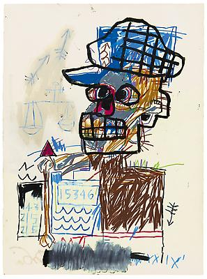 "Jean-Michel Basquiat, ""Untitled (Scales of Justice)"", 1982, Acrylic and oil paintstick on paper, 30 x 22 1/4 inches (75 x 56.5 cm), The Schorr Family Collection, Art Ⓒ The Estate of Jean-Michel Basquiat / ADAGP, Paris / ARS, New York 2014 Image"