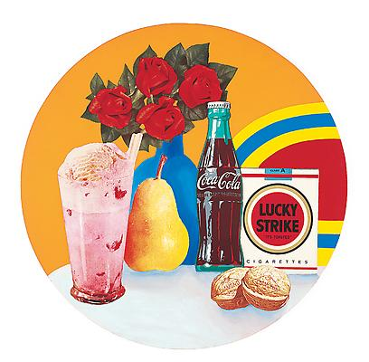 "Tom Wesselmann, ""Still Life #34"", 1963. Acrylic and collage on panel, 47 1/2 inches diameter (120.7 cm). Private Collection. Art © Estate of Tom Wesselmann / Licensed by VAGA, New York, NY Image"