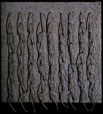 "EVA HESSE ""Iterate"" 1966-67 Acrylic, cord, wood shavings and glue on masonite 22 x 20 1/8 inches (56 x 51 cm) Image"