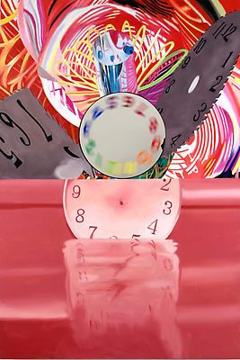 "James Rosenquist, ""Time Stops but the Clock Disappears,"" 2008 Oil on canvas with motorized painted mirror (spinning) 84 x 56 x 5 1/2 inches Image"