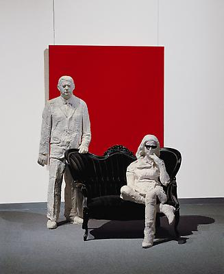 "George Segal, ""Portrait of Robert and Ethel Scull,"" 1965. Oil on canvas, plaster, wood chair with cloth, 96 x 72 x 72 inches. Aichi Prefectural Museum of Art, Nagoya, Japan. Art © The George and Helen Segal Foundation / Licensed by VAGA, New York, NY Image"
