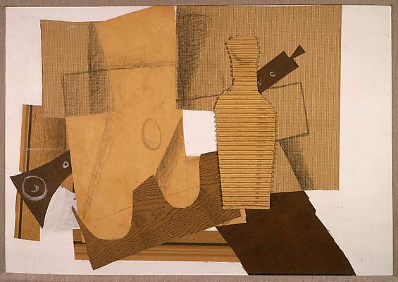 "Georges Braque, ""Bouteille et Instruments de Musique"" 1918, Crayon, charcoal and white chalk on collaged paper and corrugated cardboard on primed board 20 7/8 inches x 29 3/4 inches Image"