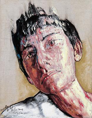 """Zeng Fanzhi, """"Portrait 08-12-3""""  2008 Oil on canvas 14 x 10 7/8 inches (35.5 x 27.5 cm) Image"""