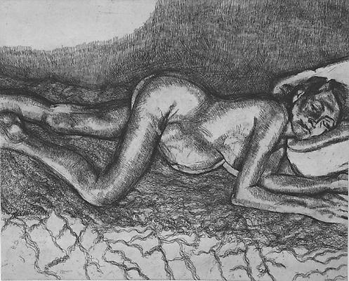 "Lucian Freud, ""Before the Fourth,"" 2004 Etching on Somerset white paper, 13 1/2 x 16 7/8 inches"