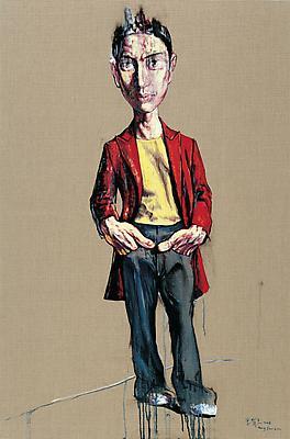 """Zeng Fanzhi, """"Portrait 08-12-6""""  2008 Oil on canvas 59 1/2 x 41 3/8 inches (151 x 105 cm) Image"""