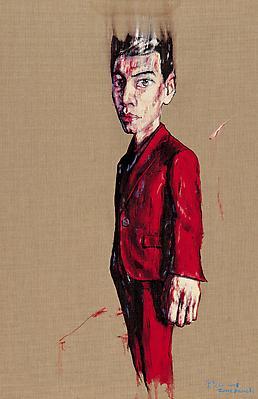 """Zeng Fanzhi, """"Portrait 08-4-1""""  2008 Oil on canvas 43 1/4 x 28 3/8 inches (110 x 72 cm) Image"""
