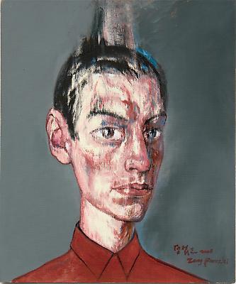 """Zeng Fanzhi, """"Portrait 08-7-3""""  2008 Oil on canvas 19 1/4 x 16 1/8 inches (49 x 41 cm) Image"""