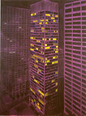 "Enoc Perez, ""Seagram Building, New York"" May 2010 Oil on canvas, 80 x 60 inches"