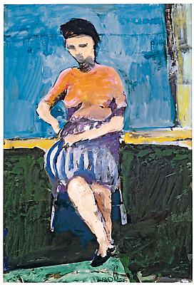 "Richard Diebenkorn, ""Untitled,"" 1956 Gouache and ink on paper, 16 x 10 7/8 inches"