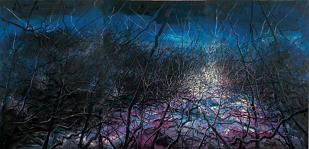 """Zeng Fanzhi, """"Untitled 07-18""""  2008 Oil on canvas in three panels 102 3/8 x 212 5/8 inches (260 x 540 cm) Image"""