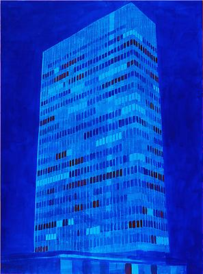 "Enoc Perez, ""Lever House, NY"" 2010 Oil on canvas, 80 x 60 inches"