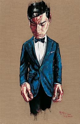 """Zeng Fanzhi, """"Portrait 08-7-2""""  2008 Oil on canvas 43 1/4 x 28 3/8 inches (110 x 72 cm) Image"""