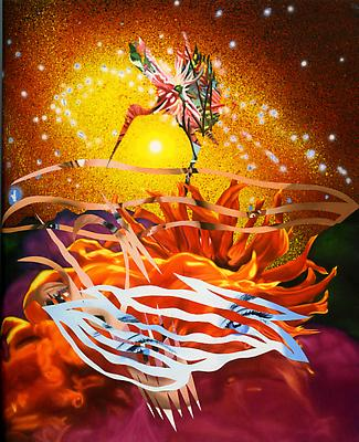 "James Rosenquist, ""The Bird of Paradise Approaches the Hot Water Planet"" 1988 Oil on canvas 105 x 85 inches"