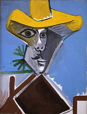 "Pablo Picasso, ""Buste d'Homme"" October 17, 1969 (II), Oil on canvas 45 5/8 x 35 inches Image"