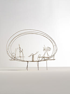 """Fausto Melotti, """"The Game of Pairs,"""" 1984 Brass and cement fiber,  18 1/2 x 23 1/4 x 8 11/16 inches Marta Melotti Collection, Milan Image"""