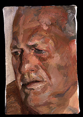 "Lucian Freud, ""John Richardson,"" 1998 Oil on canvas, 6 1/4 x 4 1/2 inches Image"
