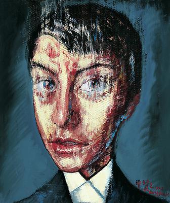 """Zeng Fanzhi, """"Portrait 08-7-8""""  2008 Oil on canvas 12 1/4 x 10 inches (31 x 25.5 cm) Image"""