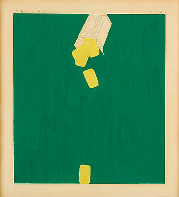 "Ed Ruscha, ""Lemon Drops,"" 1962 Oil and Graphite on paper, 11 1/4 x 10 1/8 inches Image"