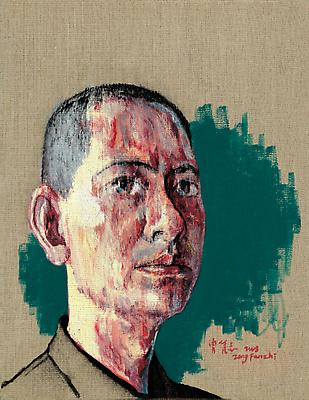 "Zeng Fanzhi, ""Self-Portrait I""  2008 Oil on canvas 17 3/8 x 13 3/8 inches (44 x 34 cm) Image"