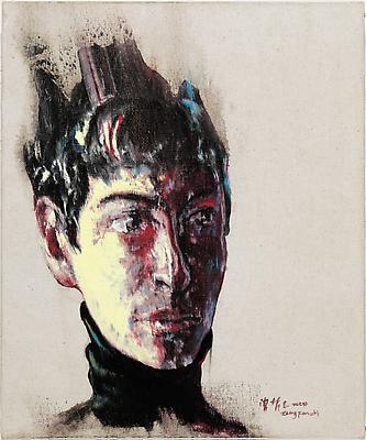 """Zeng Fanzhi, """"Portrait 08-12-4""""  2008 Oil on canvas 16 1/8 x 15 3/4 inches (40.8 x 40 cm) Image"""