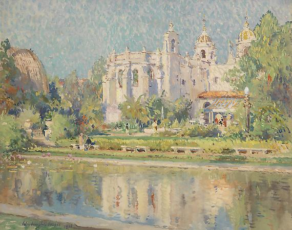 Colin Campbell Cooper (1856-1937) Balboa Park, Varied Industries Building, 1916 Gouache on paper 17 1/4 x 21 1/4 inches Image