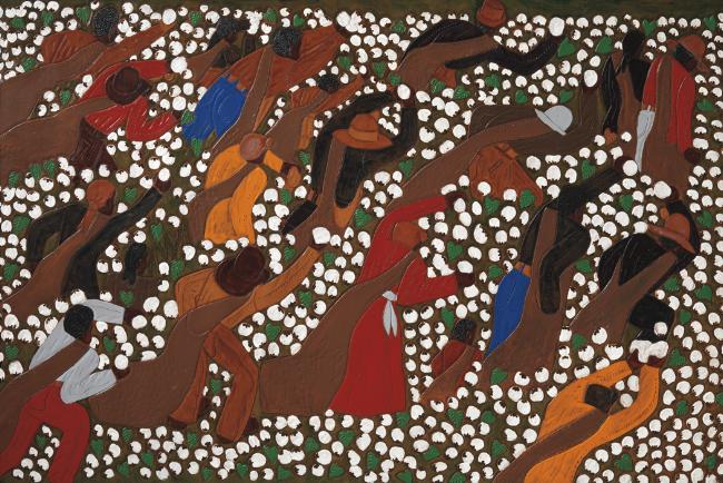 Picking Cotton, 2005 Dye on carved and tooled leather 44 3/4 x 30 inches RESERVED Image