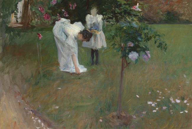 John Singer Sargent (1856-1925) Garden Study with Lucia and Kate Millet, 1886 Oil on canvas 24 1/2 x 35 1/2 inches Anonymous, Washington, DC Image