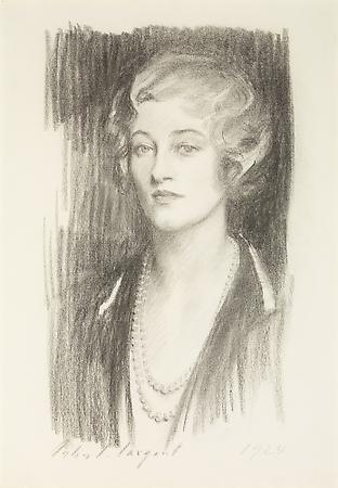 John Singer Sargent (1856-1925) Marie Louise Wanamaker, 1924 Charcoal on paper mounted on board  23 3/4 x 16 1/2 inches Image